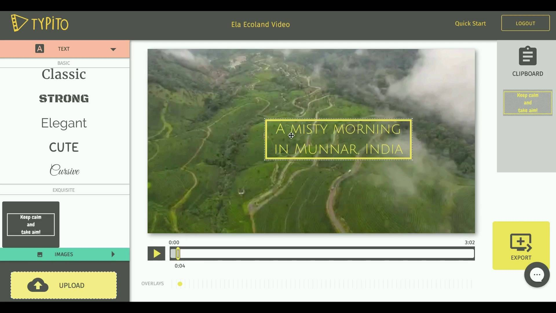 That's us testing out the first version of Typito's text templates on a footage of Munnar in Kerala