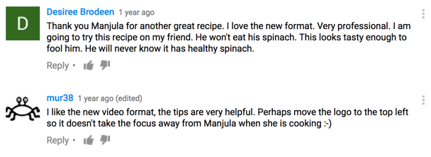 Some of the fan comments about 'Tips' on Manjula's Kitchen videos