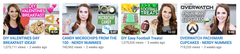 Rosanna Pansino pays a lot attention to making the title graphic attractive and engaging on her YouTube videos