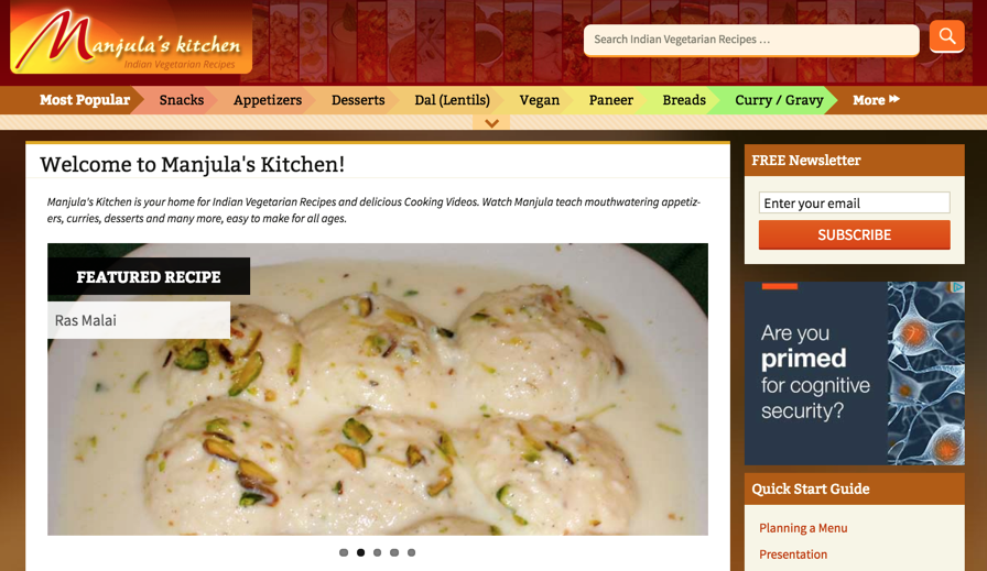 With 650K monthly visitors, manjulaskitchen.com is one of the most visited food websites focusing on Indian vegetarian delicacies.