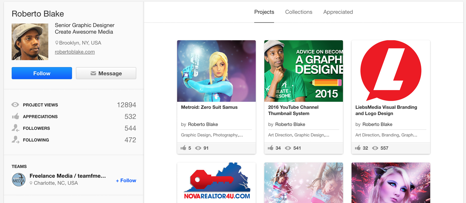 Roberto's Behance profile stays testimony to his interest in Design and Art