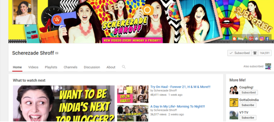 Sherry's YouTube home page is colorful, vibrant and gives a glimpse of the fun loving person that she is.