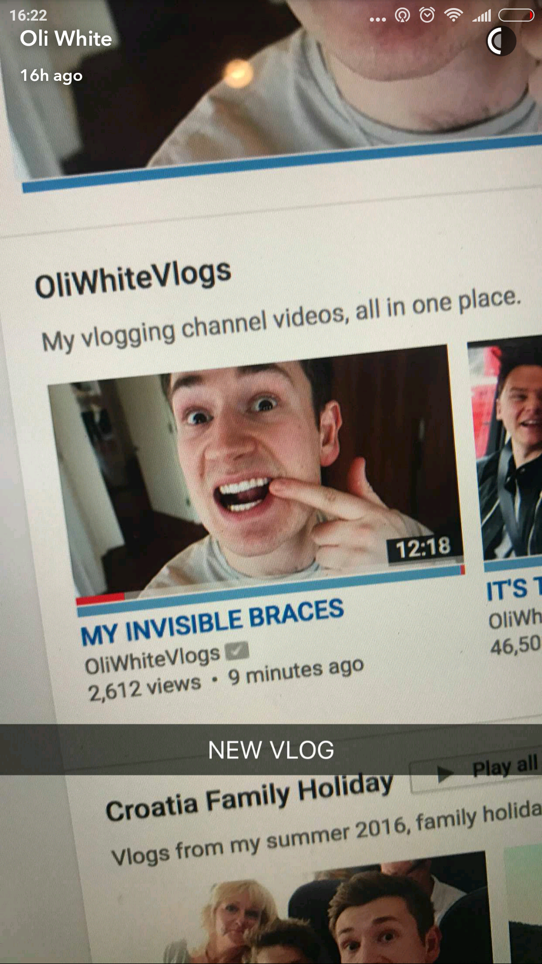 Oli White uses Snapchat to create vlog teasers