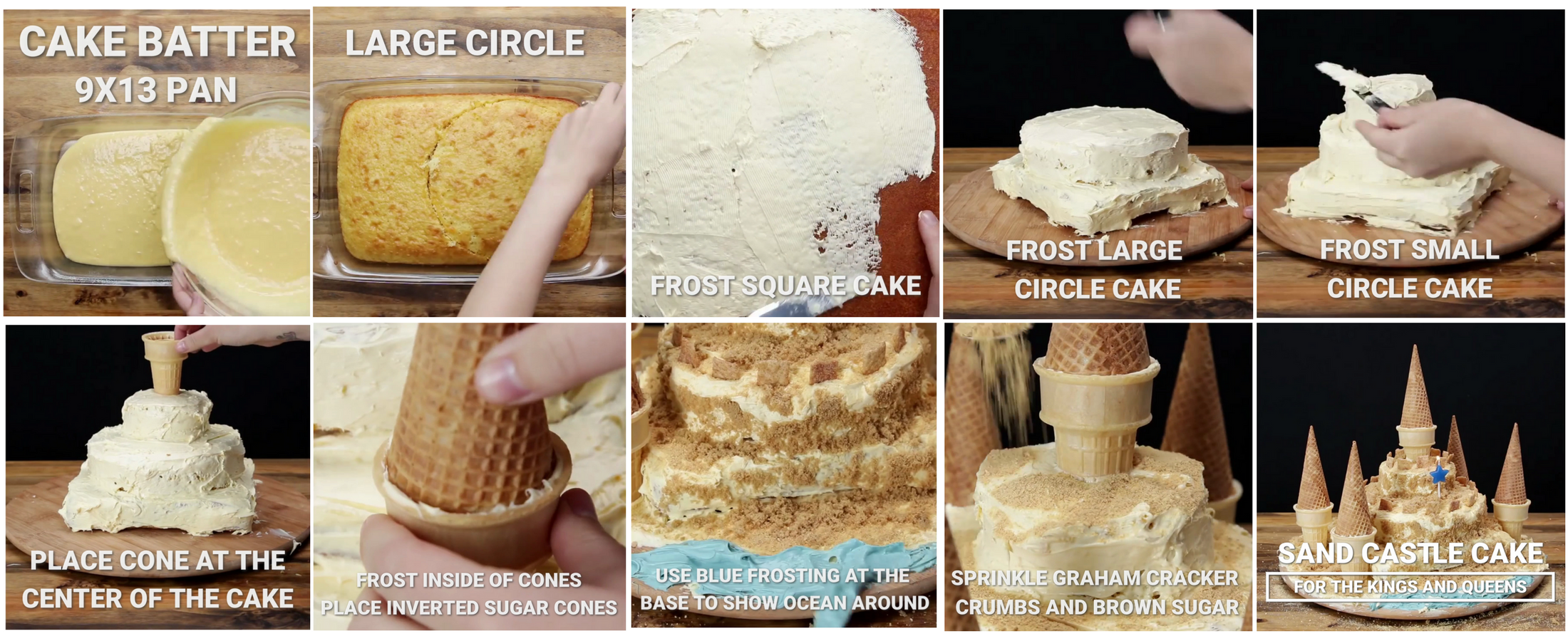 Here are the 8 important parts of Tasty's Sand Castle Cake video