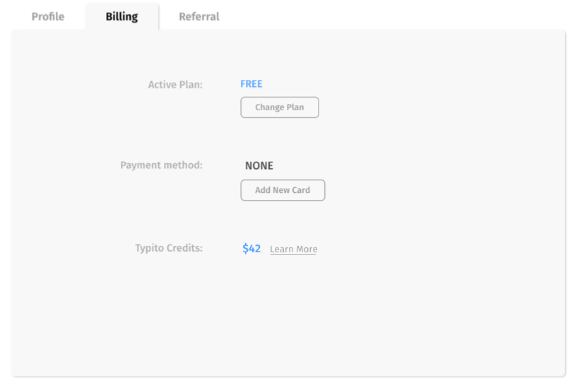 Typito Credits in the Billing section