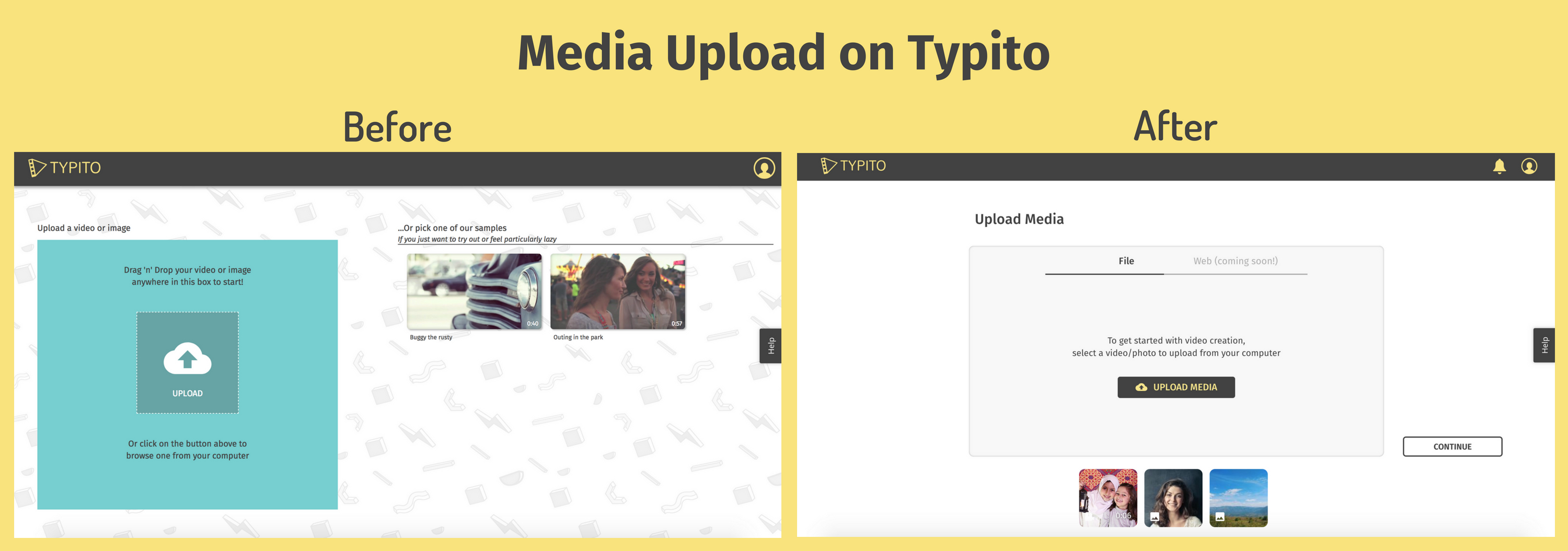Media upload experience on Typito