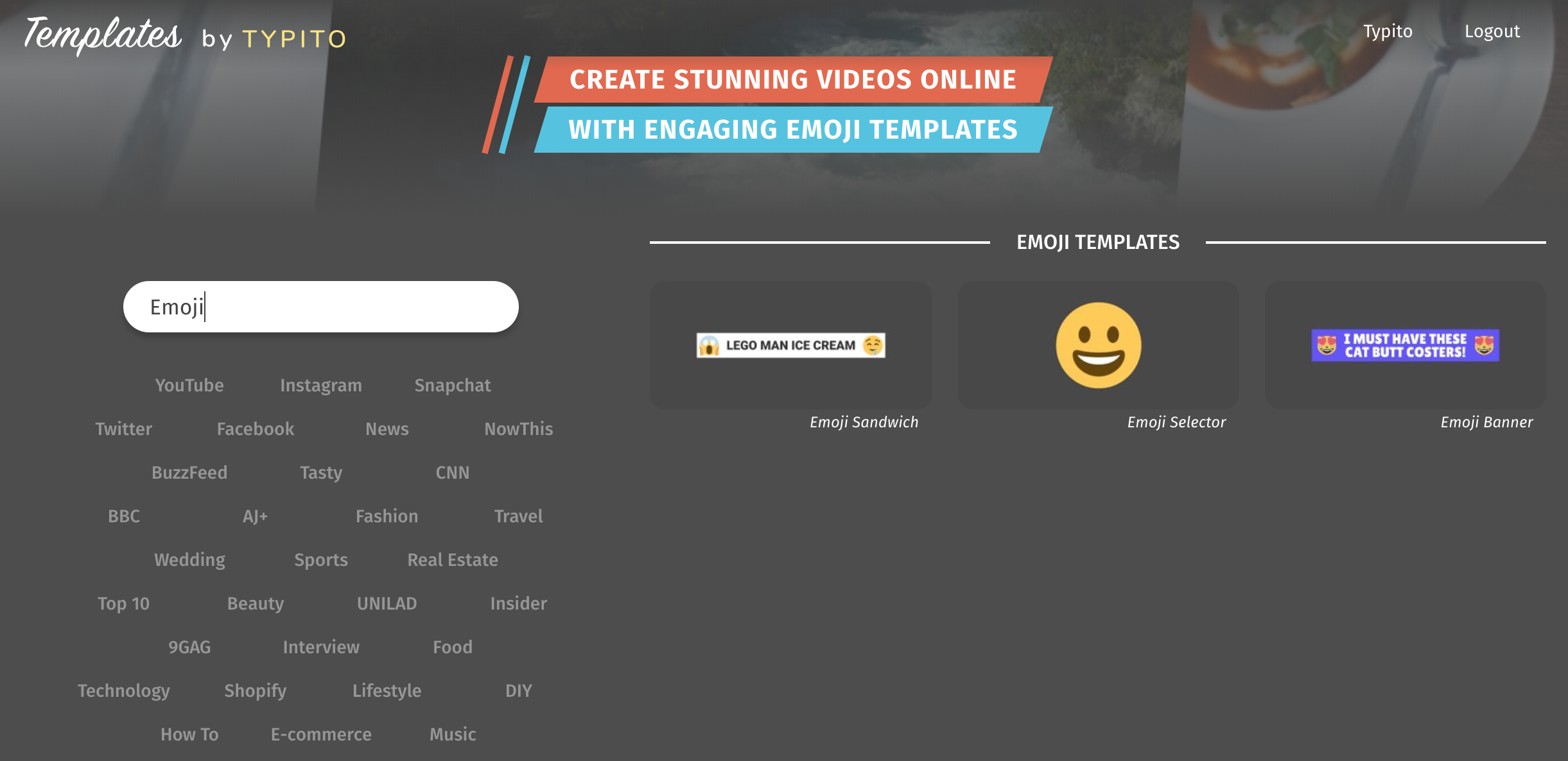 Emoji templates on Typito