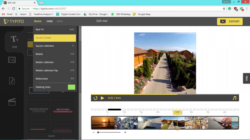 Typito Video Timeline Editor Screen