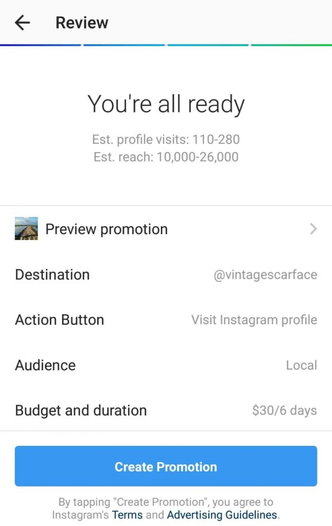 Instagram ad creation