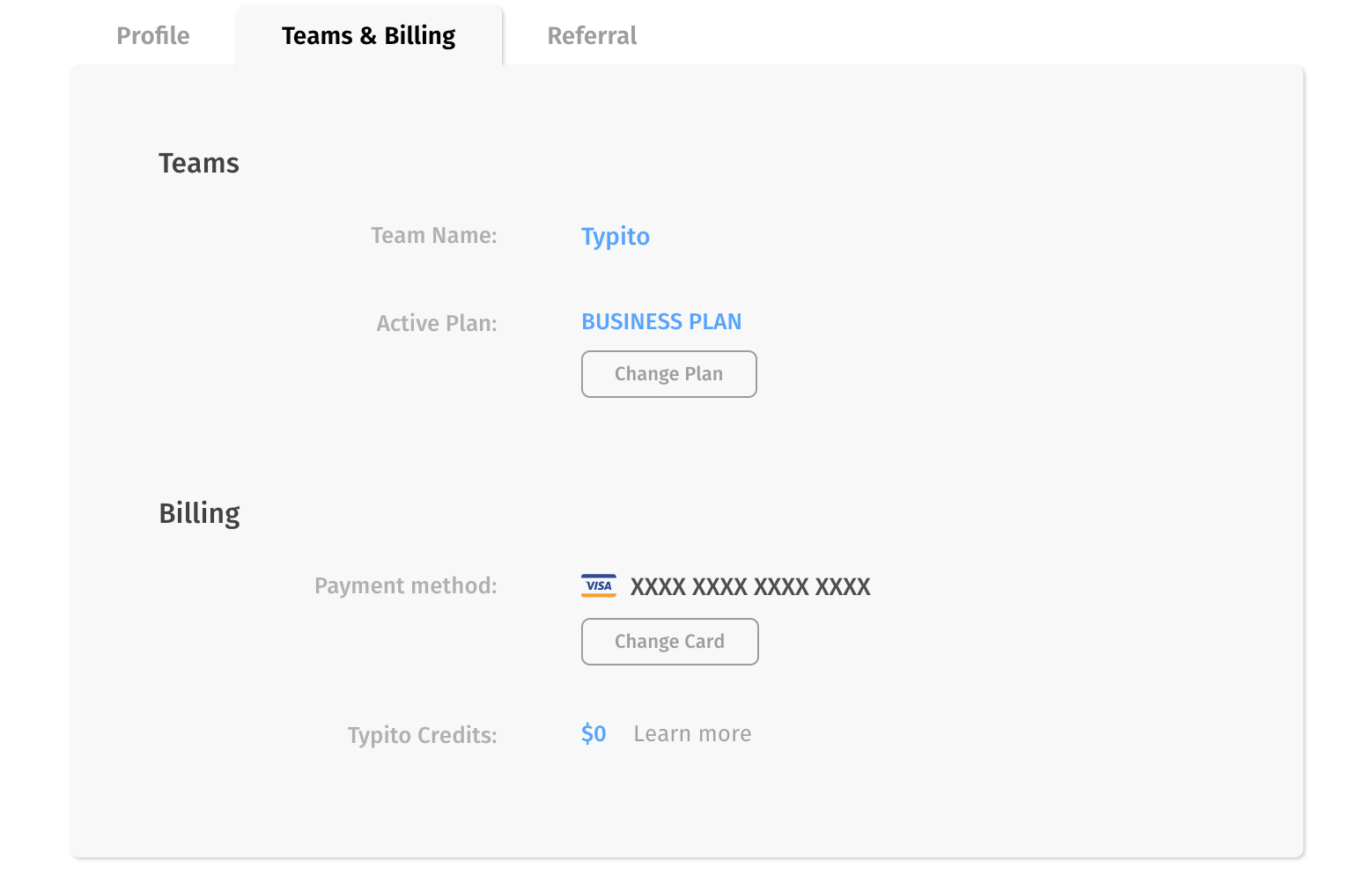 Team settings in Account section