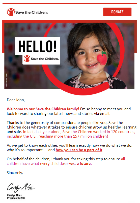 Welcome Email: Save The Children