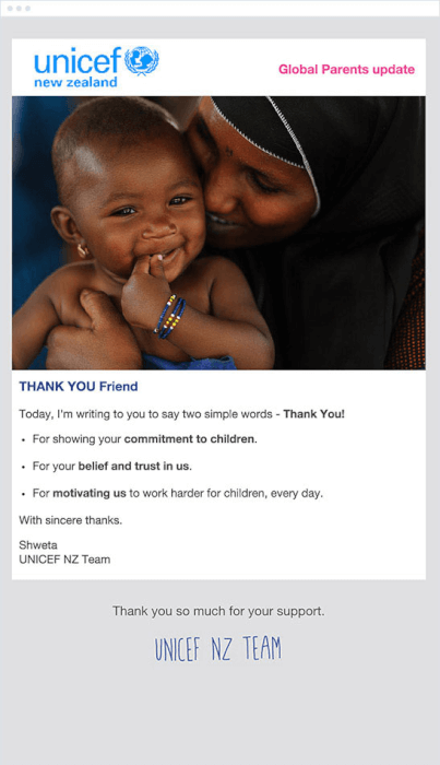 UNICEF thank you email