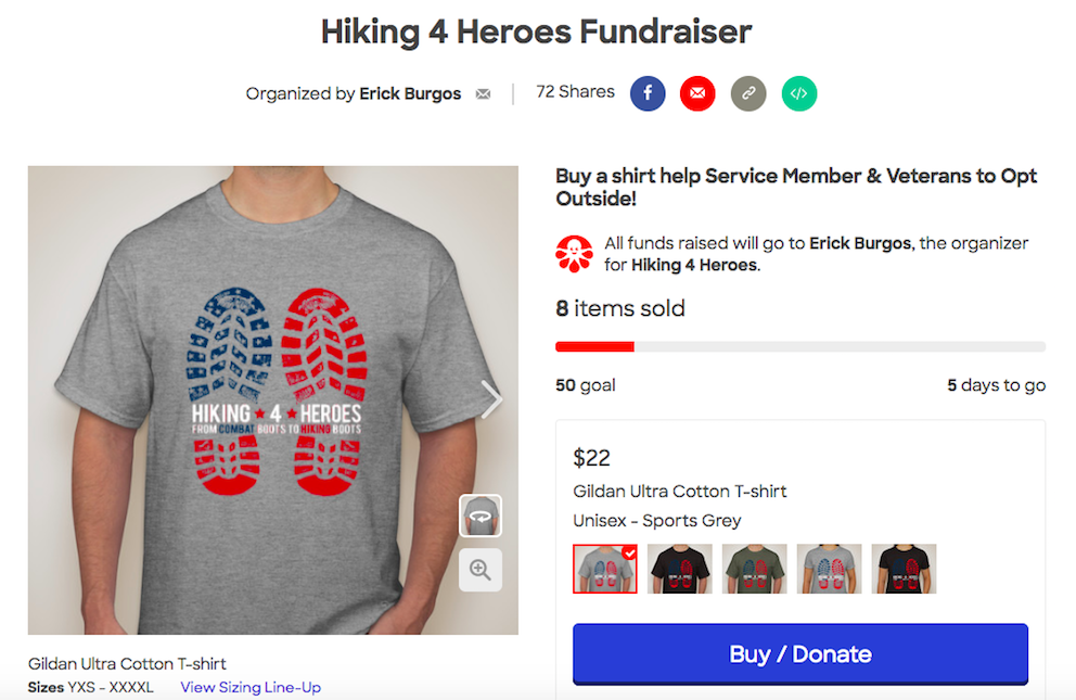 apparel sale t-shirt for online fundraising ideas