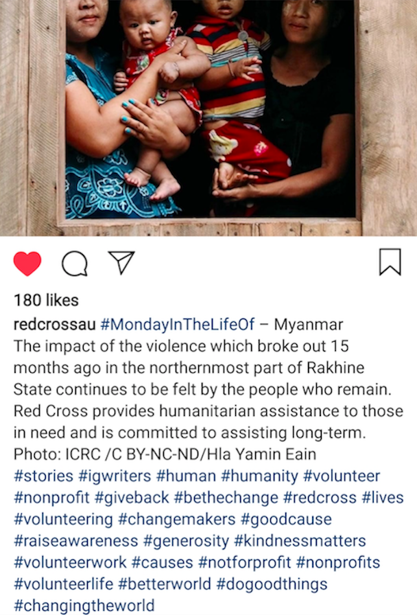 Hashtags Red Cross Australia
