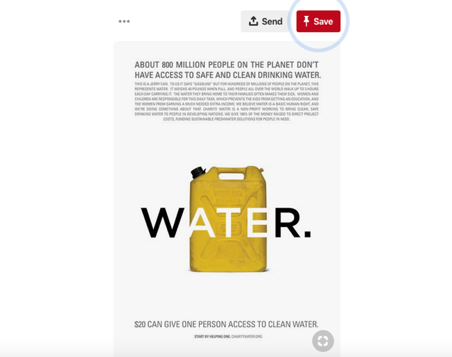 Charity water fundraising Pinterest