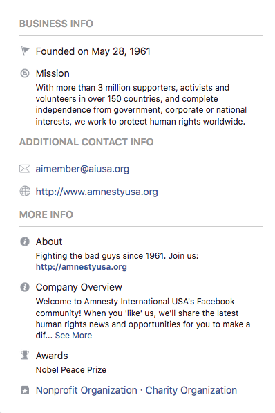 Facebook About: Amnesty USA