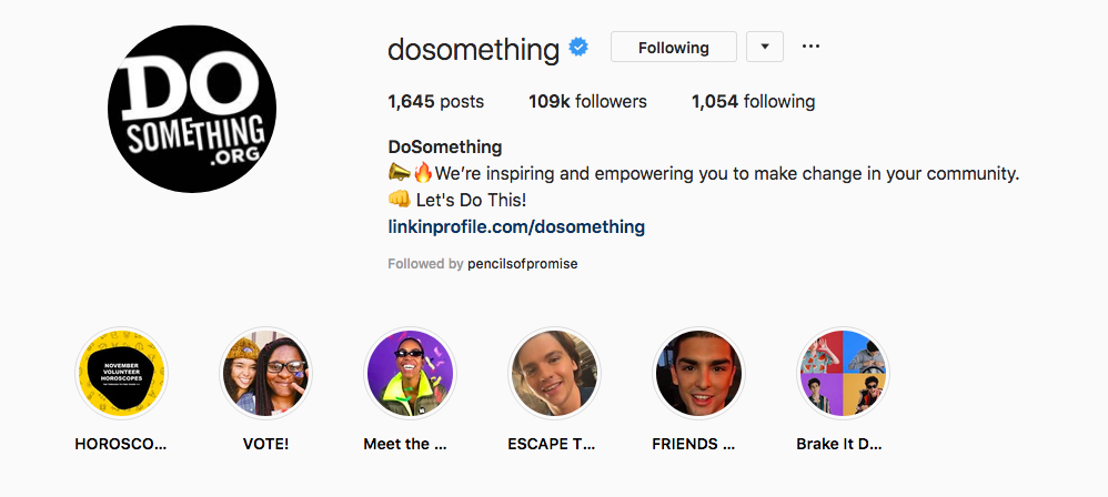 Instagram Profile of Do Something