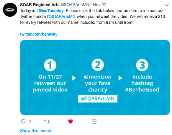 SOAR Regional Arts asking retweet