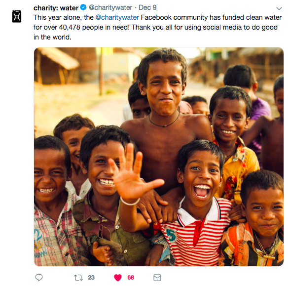 Charity: Water Tweet