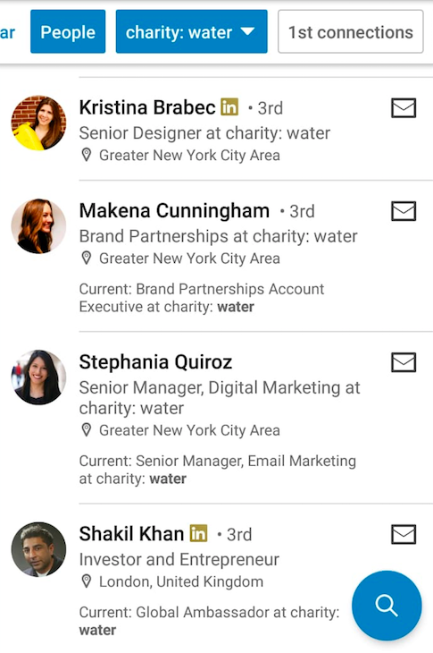 Charity: Water staff details in LinkedIn