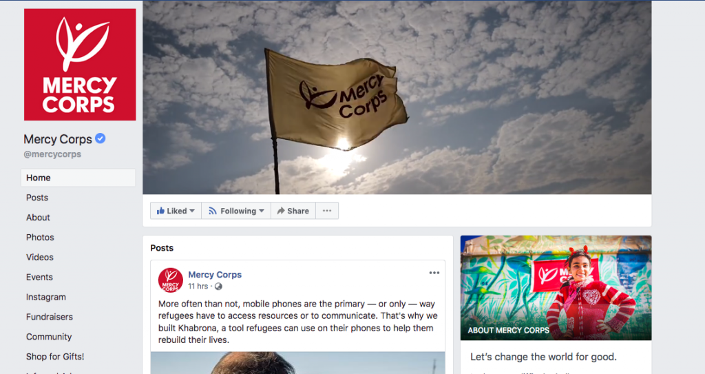 Facebook home page of Mercy Corps