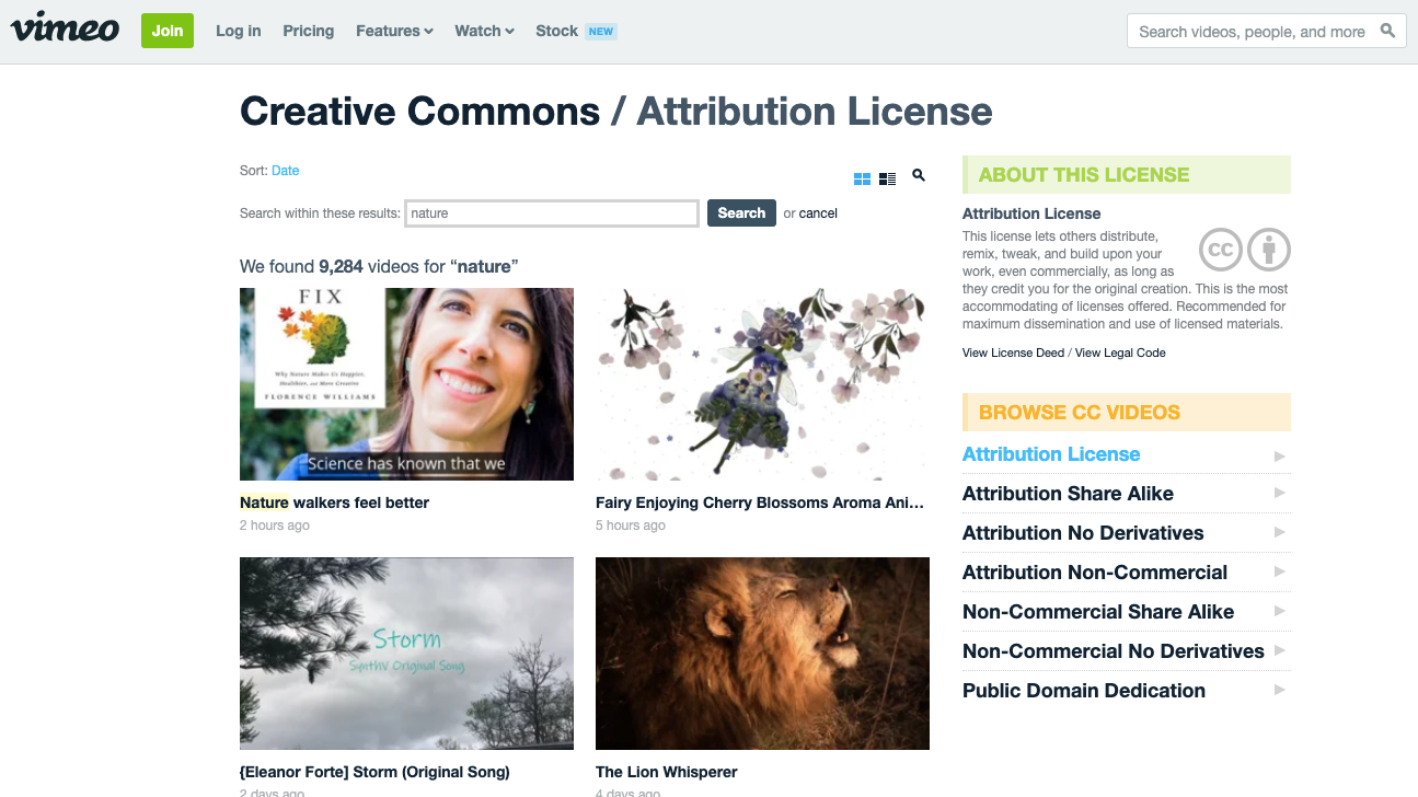 Videos under Creative Commons License