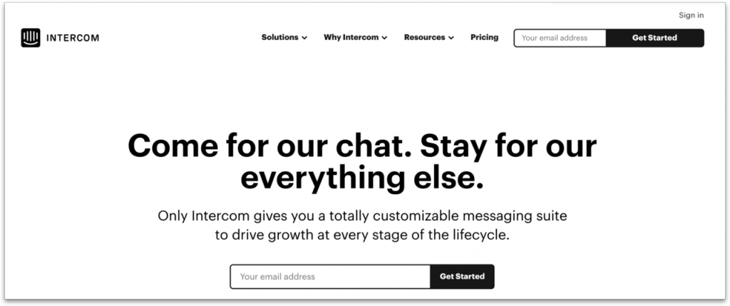 Screenshot of the Intercom landing page first fold as of May 29, 2019