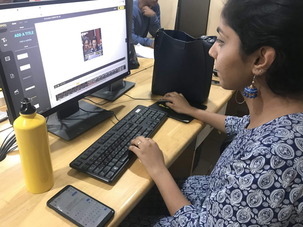 Navya, one of the full stack journalists in The Logical Indian's newsroom, designing a video story on Typito