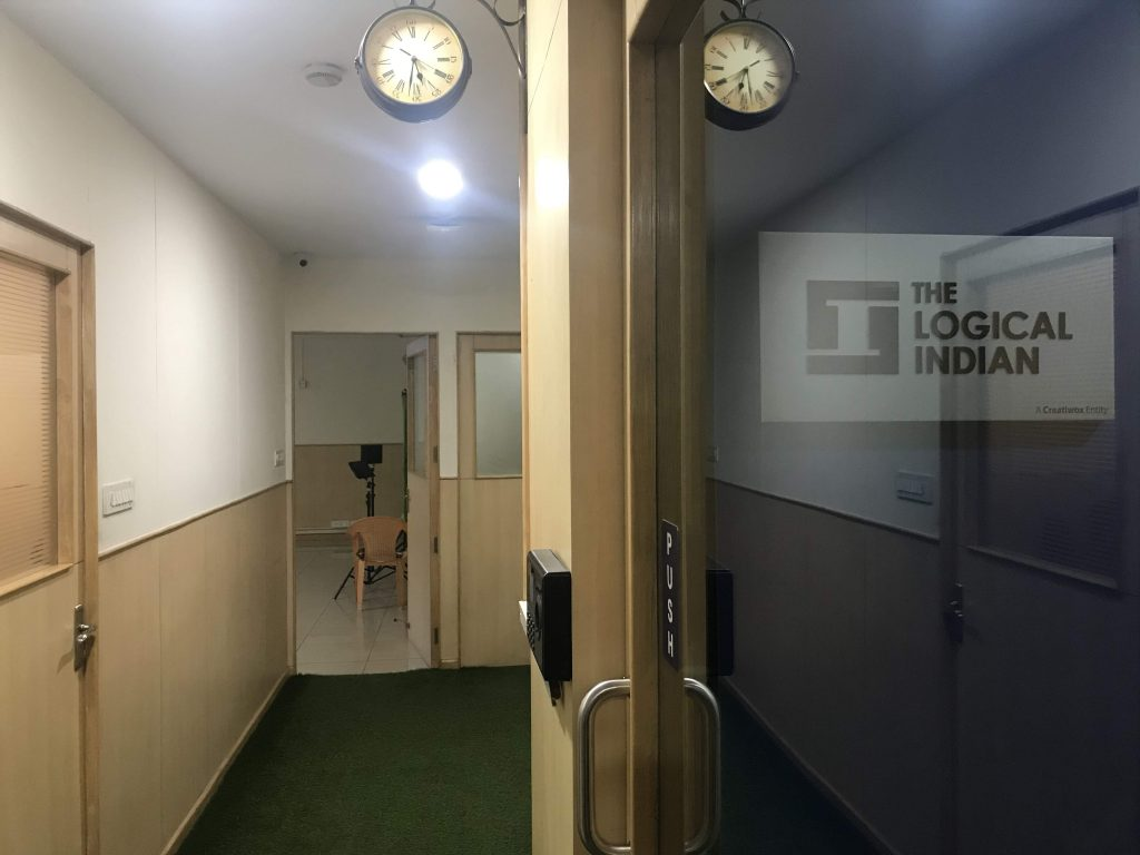 The rustic clock in The Logical Indian office corridor reflect the culture of the company that marries time and truth.