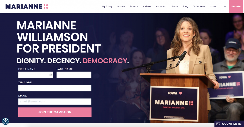 Marianne's on-brand website for the 2020 US Presidential Campaign
