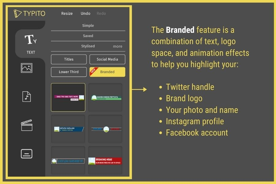 how to add brand name and social profile on videos online