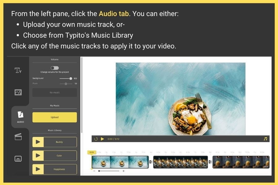 Steps to create a video with pictures and music online
