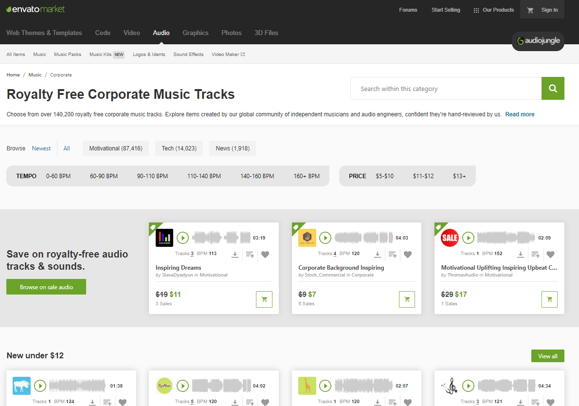 AudioJungle is great place to find good background music for videos. The interface has a well catalogued music items.