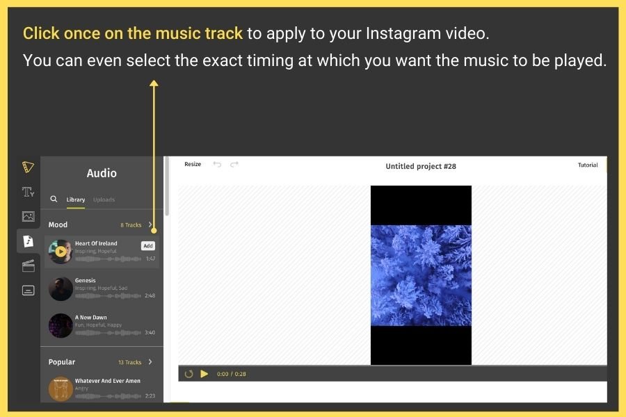 adding music to Instagram post