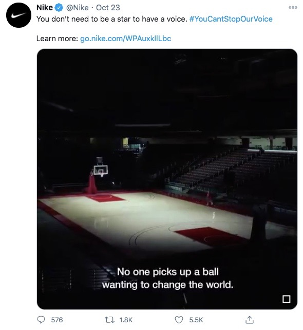 Twitter Video Requirements: Nike's ad with captions