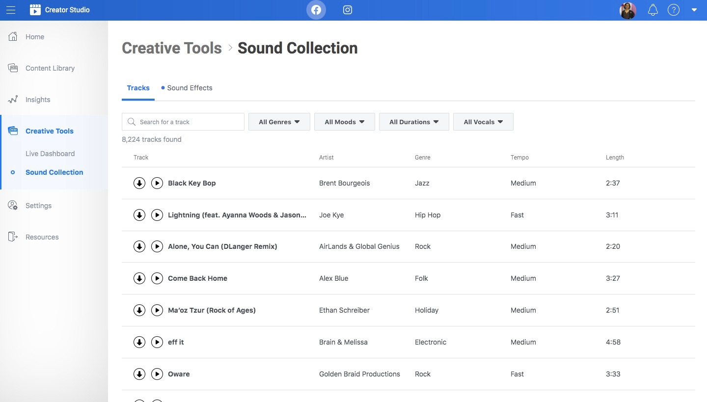How to post music on Facebook without Copyright: Facebook's Sound Collection