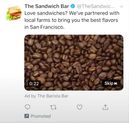 Twitter Video Requirements: A pre-roll ad by the Barista Bar