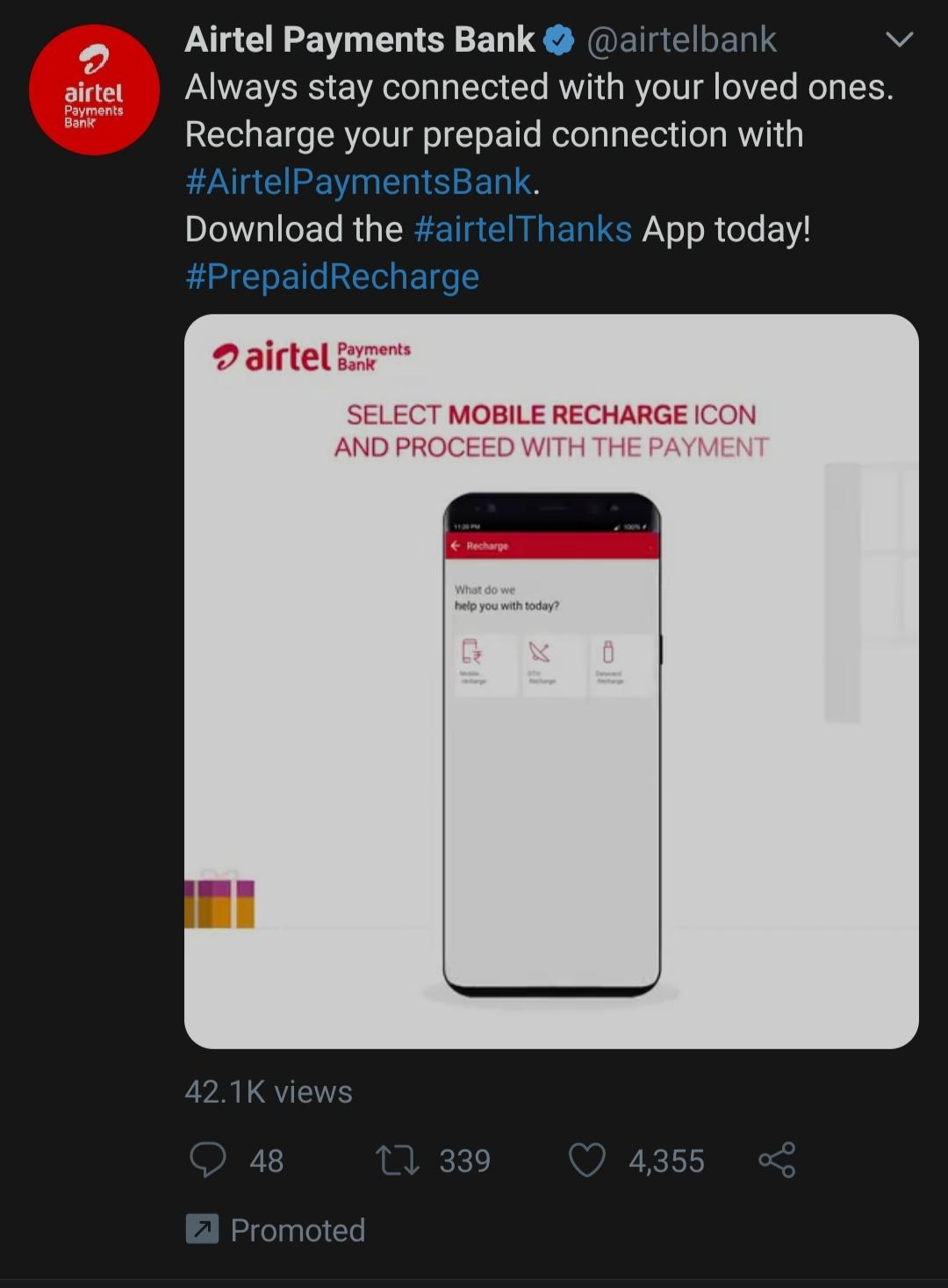 Twitter Video Requirements: Promoted Video Ad Example by Airtel Payments Bank
