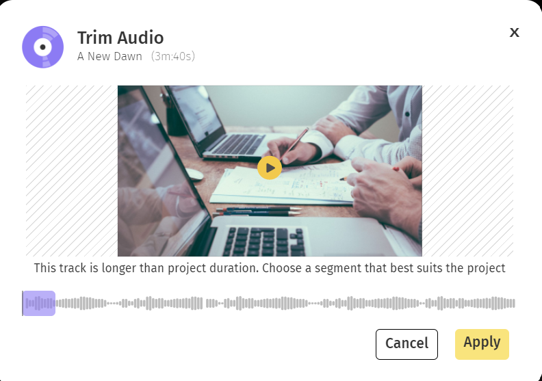 Trim your audio before adding it to your Slideshow video