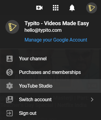 How to download your own Youtube videos: Click Youtube Studio