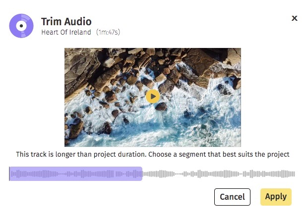 Best background songs for videos: Trim the audio track as needed